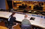working on a mix at the Newman Scoring Stage
