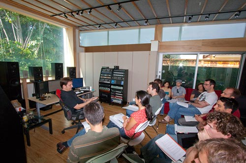 John Rodd lecturing the 2010 ASCAP Scoring Workshop participants at Clearstory Sound - John Rodd's recording, mixing & mastering studio.
