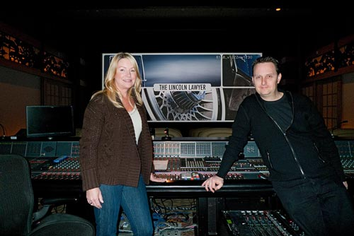 Re-recording Mixer Deb Adair and Scoring Mixer John Rodd at The Lincoln Lawyer dubstage on the Sony Pictures lot in Los Angeles.