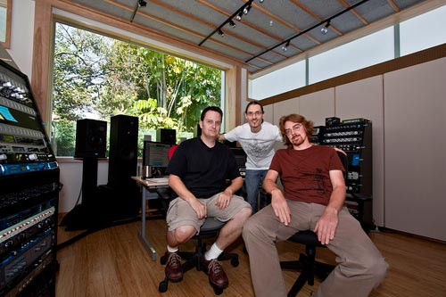 John Rodd and composer Jesper Kyd with Carl Vaudrin (standing) during the mixing and mastering of Assassins Creed Brotherhood at John's studio 'Clearstory Sound'.