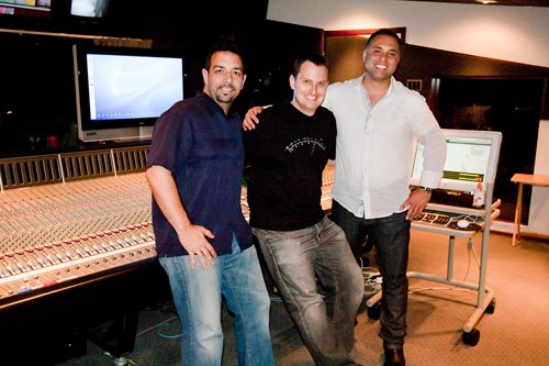 Al Machera, John Rodd and Kevin Teasley at The Lord Of The Rings - War In The North trailer mixing session at Westlake studios, Los Angeles.