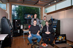 Mixing the Elysium score at Clearstory Sound --- clockwise from back left: Rich Walters, Dave Lawrence, Ryan Amon, John Rodd