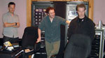 "John, Gordy Haab and Kyle Newmaster enjoying a playback of a cue from ""The Works"""