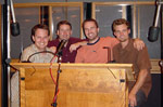 Scoring Mixer John Rodd, Executive Producer Mark Robertson, Composer Andrew Kaiser, and Director Eli Craig at the orchestral recording of TAO OF PONG at Capitol Studios in Hollywood.